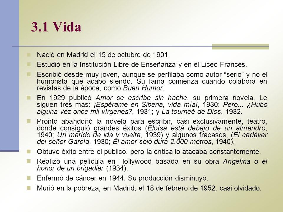 3.1 Vida Nació en Madrid el 15 de octubre de 1901. Estudió en la Institución Libre de Enseñanza y en el Liceo Francés. Escribió desde muy joven, aunqu
