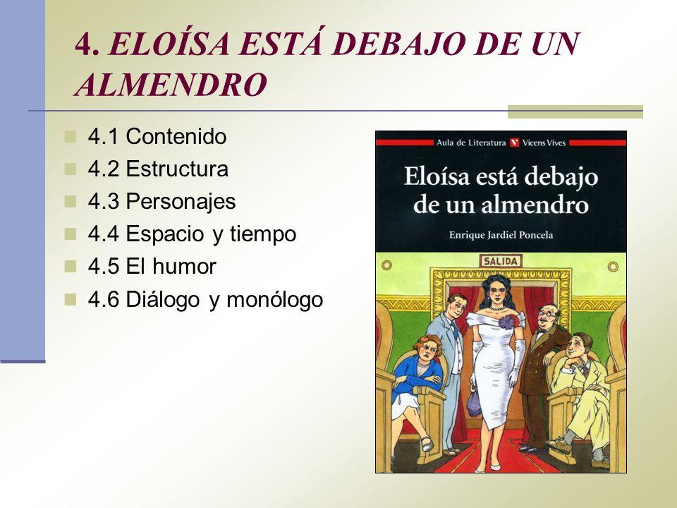 4. ELOÍSA ESTÁ DEBAJO DE UN ALMENDRO 4.1 Contenido 4.2 Estructura 4.3 Personajes 4.4 Espacio y tiempo 4.5 El humor 4.6 Diálogo y monólogo