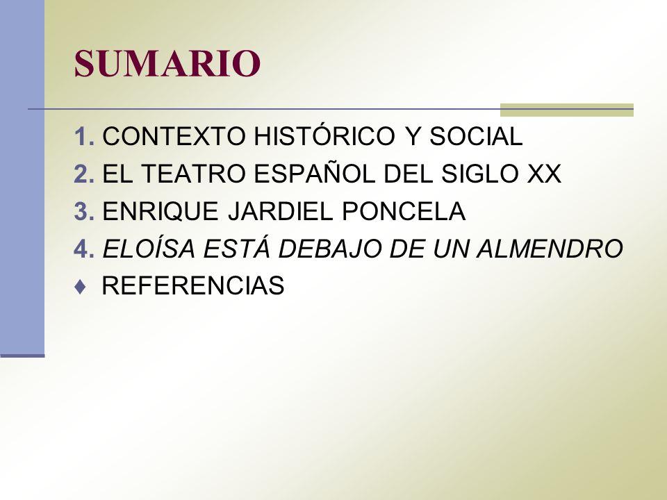 SUMARIO 1. CONTEXTO HISTÓRICO Y SOCIAL 2. EL TEATRO ESPAÑOL DEL SIGLO XX 3. ENRIQUE JARDIEL PONCELA 4. ELOÍSA ESTÁ DEBAJO DE UN ALMENDRO REFERENCIAS