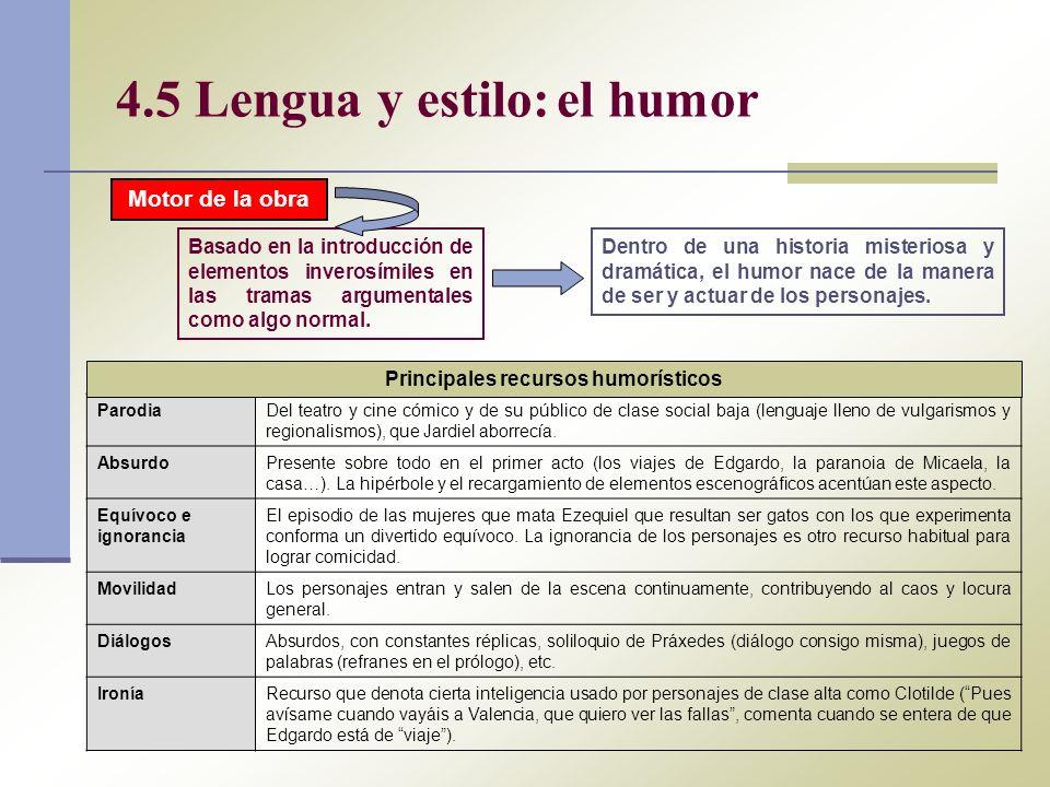 4.5 Lengua y estilo: el humor Basado en la introducción de elementos inverosímiles en las tramas argumentales como algo normal. Dentro de una historia