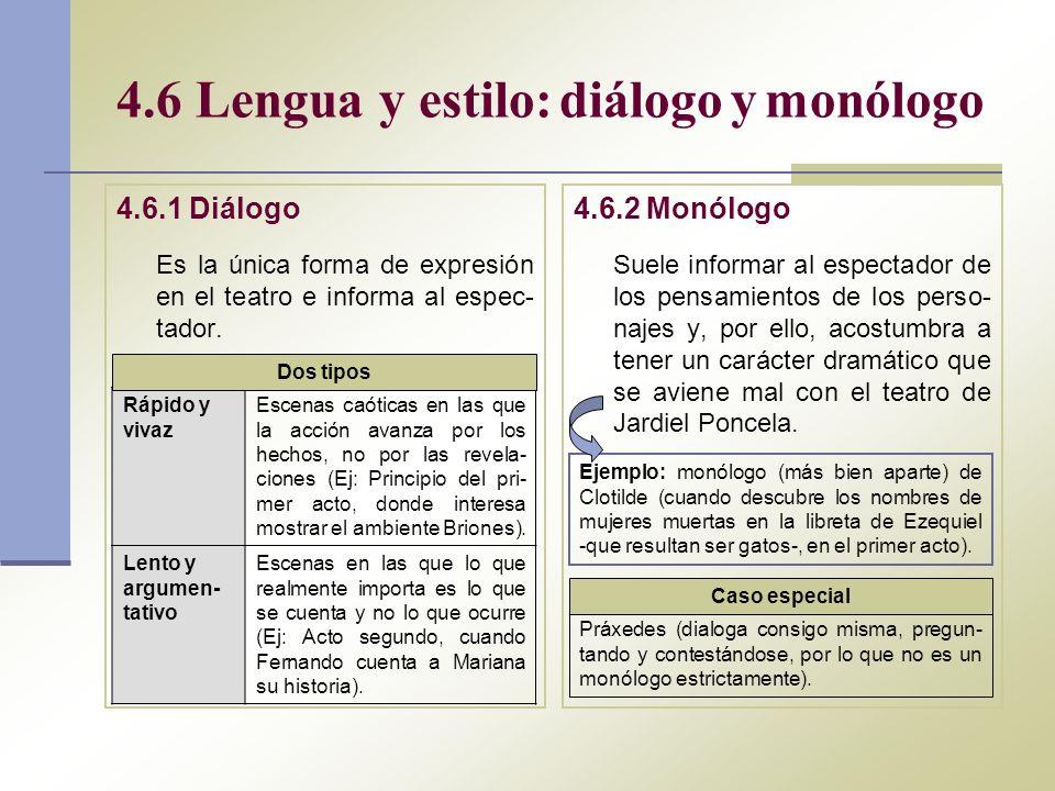 4.6 Lengua y estilo: diálogo y monólogo 4.6.1 Diálogo Es la única forma de expresión en el teatro e informa al espec- tador. 4.6.2 Monólogo Suele info