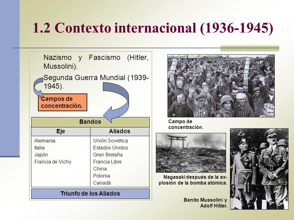 1.2 Contexto internacional (1936-1945) Nazismo y Fascismo (Hitler, Mussolini). Segunda Guerra Mundial (1939- 1945). EjeAliados Alemania Italia Japón F