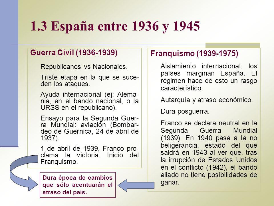 1.3 España entre 1936 y 1945 Guerra Civil (1936-1939) Republicanos vs Nacionales. Triste etapa en la que se suce- den los ataques. Ayuda internacional