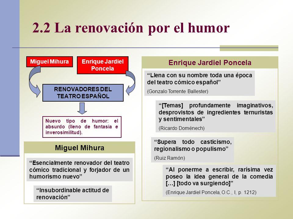 2.2 La renovación por el humor Miguel MihuraEnrique Jardiel Poncela RENOVADORES DEL TEATRO ESPAÑOL Nuevo tipo de humor: el absurdo (lleno de fantasía