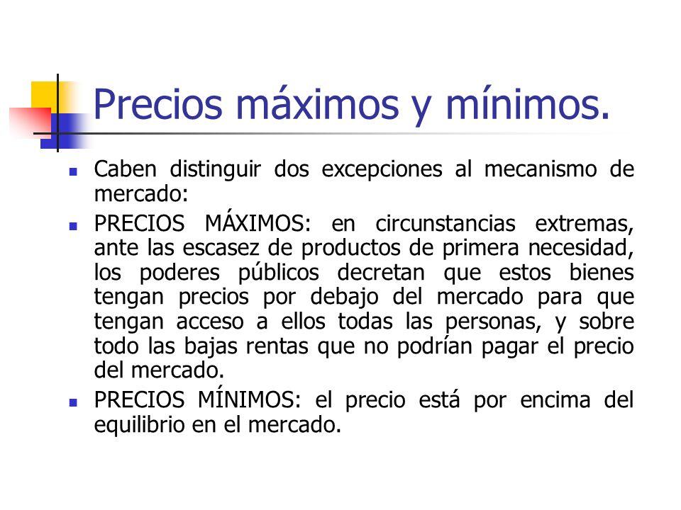 Precios máximos y mínimos. Caben distinguir dos excepciones al mecanismo de mercado: PRECIOS MÁXIMOS: en circunstancias extremas, ante las escasez de