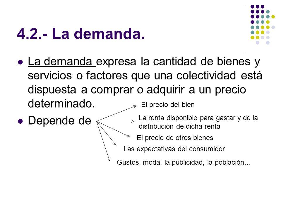 4.2.- La demanda. La demanda expresa la cantidad de bienes y servicios o factores que una colectividad está dispuesta a comprar o adquirir a un precio