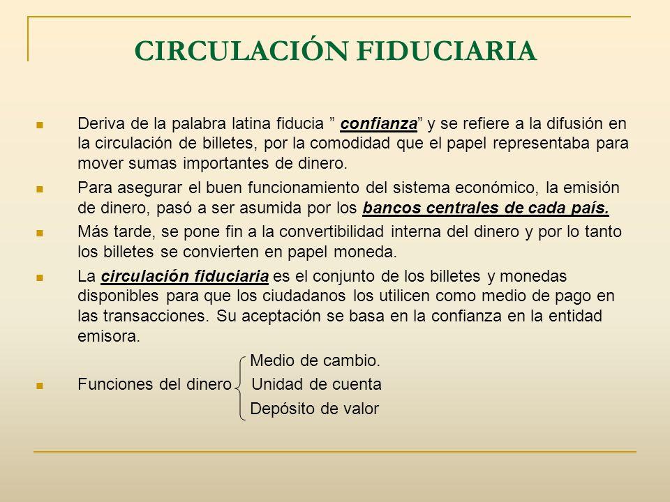 CIRCULACIÓN FIDUCIARIA Deriva de la palabra latina fiducia confianza y se refiere a la difusión en la circulación de billetes, por la comodidad que el