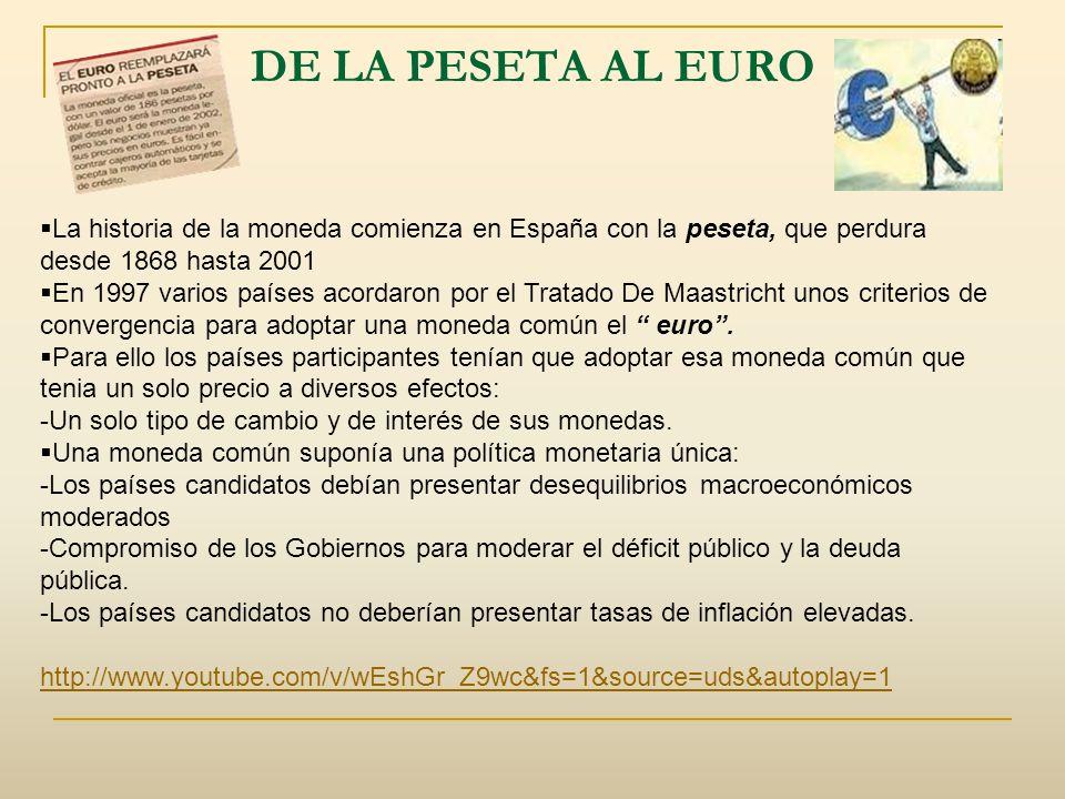 DE LA PESETA AL EURO La historia de la moneda comienza en España con la peseta, que perdura desde 1868 hasta 2001 En 1997 varios países acordaron por