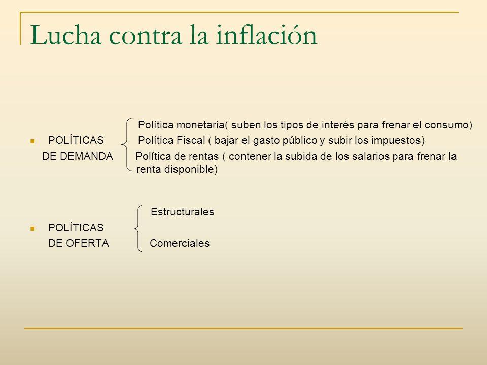 Lucha contra la inflación Política monetaria( suben los tipos de interés para frenar el consumo) POLÍTICAS Política Fiscal ( bajar el gasto público y