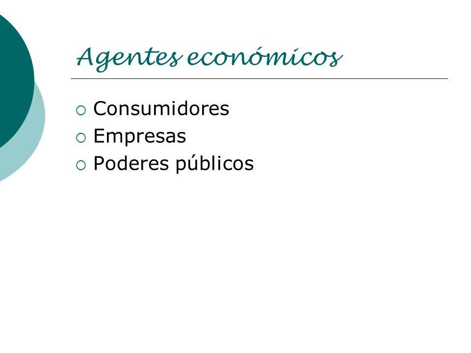 Agentes económicos Consumidores Empresas Poderes públicos