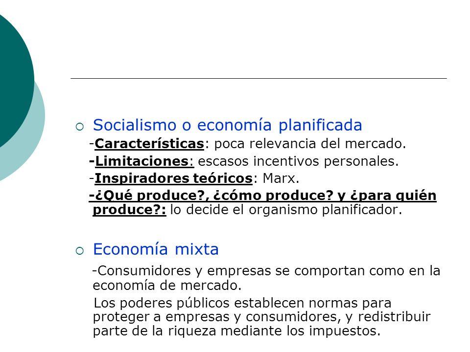 Socialismo o economía planificada -Características: poca relevancia del mercado. -Limitaciones: escasos incentivos personales. -Inspiradores teóricos: