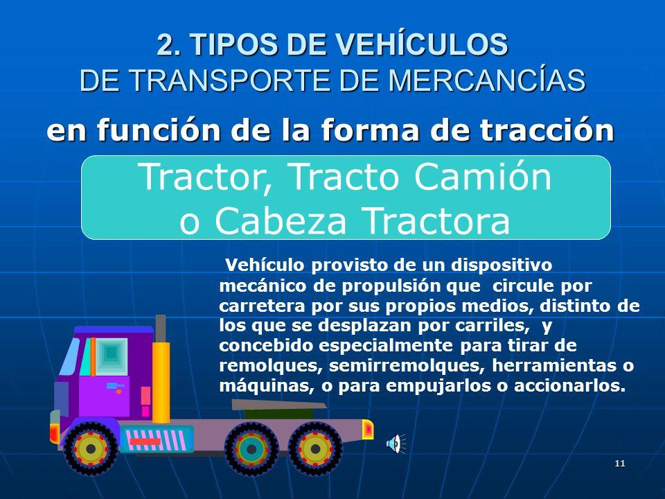 10 2. TIPOS DE VEHÍCULOS DE TRANSPORTE DE MERCANCÍAS en función de la forma de tracción Camión en el que la cabina está integrada en el resto de la ca