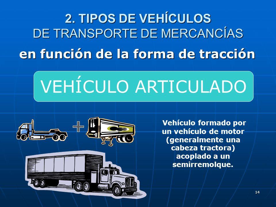 13 2. TIPOS DE VEHÍCULOS DE TRANSPORTE DE MERCANCÍAS en función de la forma de tracción Vehículo no autopropulsado diseñado y construido para ser acop