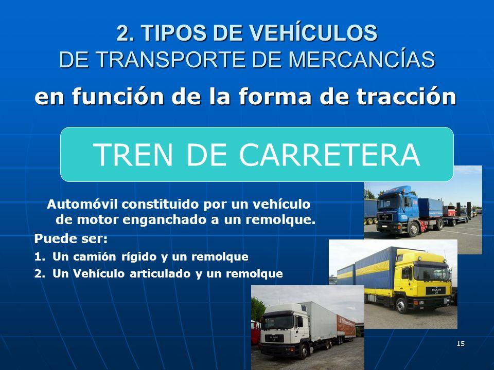 14 2. TIPOS DE VEHÍCULOS DE TRANSPORTE DE MERCANCÍAS en función de la forma de tracción Vehículo formado por un vehículo de motor (generalmente una ca
