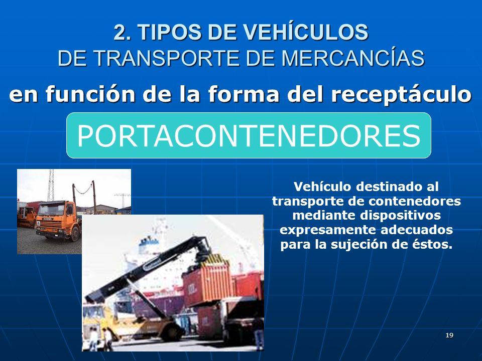 18 2. TIPOS DE VEHÍCULOS DE TRANSPORTE DE MERCANCÍAS en función de la forma del receptáculo Vehículo destinado al transporte de mercancías sobre una s