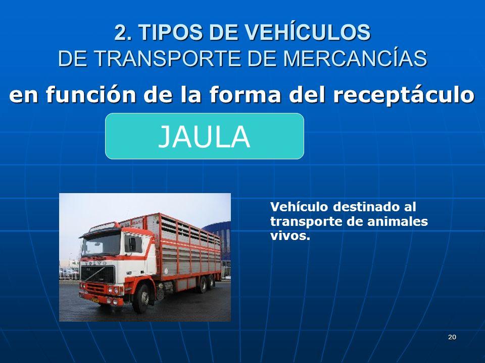 19 2. TIPOS DE VEHÍCULOS DE TRANSPORTE DE MERCANCÍAS en función de la forma del receptáculo Vehículo destinado al transporte de contenedores mediante