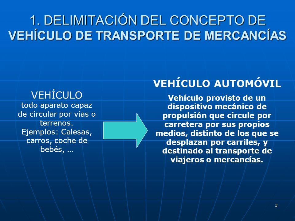 2 TIPOS DE VEHÍCULOS DE TRANSPORTE DE MERCANCÍAS Delimitación del concepto de vehículo de transporte de mercancías Delimitación del concepto de vehícu