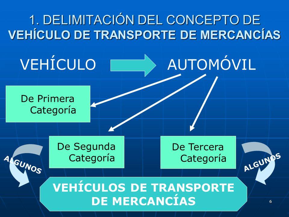 5 1. DELIMITACIÓN DEL CONCEPTO DE VEHÍCULO DE TRANSPORTE DE MERCANCÍAS VEHÍCULO AUTOMÓVIL De Primera Categoría De Segunda Categoría Vehículos destinad