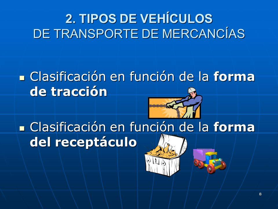 7 2. TIPOS DE VEHÍCULOS DE TRANSPORTE DE MERCANCÍAS Legislación aplicable. Se pueden encontrar referencias sobre clasificaciones y tipologías de vehíc