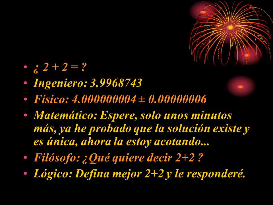 ¿ 2 + 2 = ? Ingeniero: 3.9968743 Físico: 4.000000004 ± 0.00000006 Matemático: Espere, solo unos minutos más, ya he probado que la solución existe y es