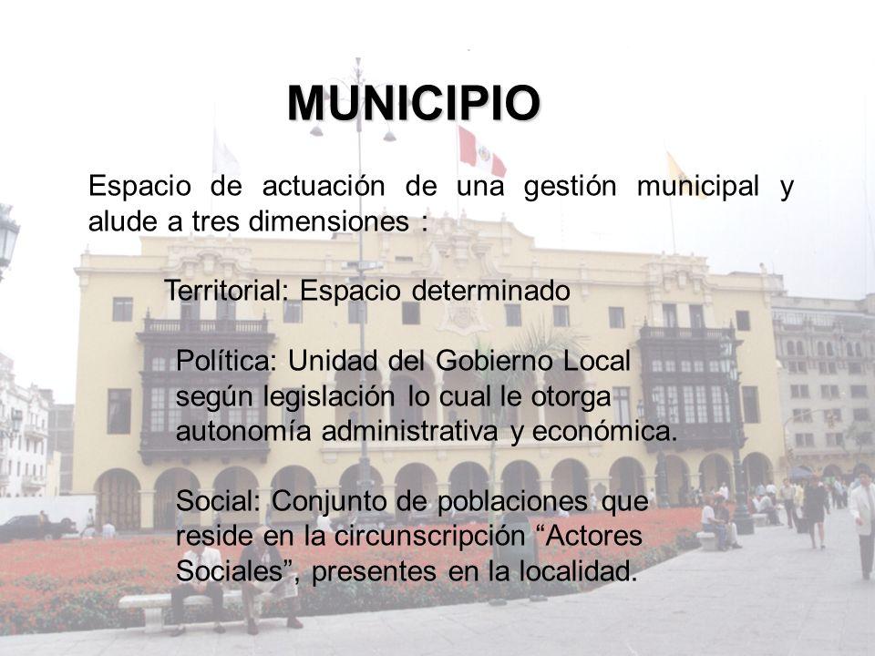 MUNICIPIO Espacio de actuación de una gestión municipal y alude a tres dimensiones : Territorial: Espacio determinado Política: Unidad del Gobierno Lo