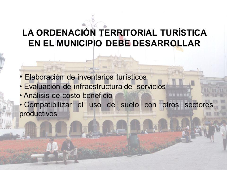 LA ORDENACIÓN TERRITORIAL TURÍSTICA EN EL MUNICIPIO DEBE DESARROLLAR Elaboración de inventarios turísticos Evaluación de infraestructura de servicios