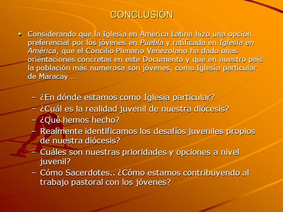 CONCLUSIÓN Considerando que la Iglesia en América Latina hizo una opción preferencial por los jóvenes en Puebla y ratificada en Iglesia en América, qu