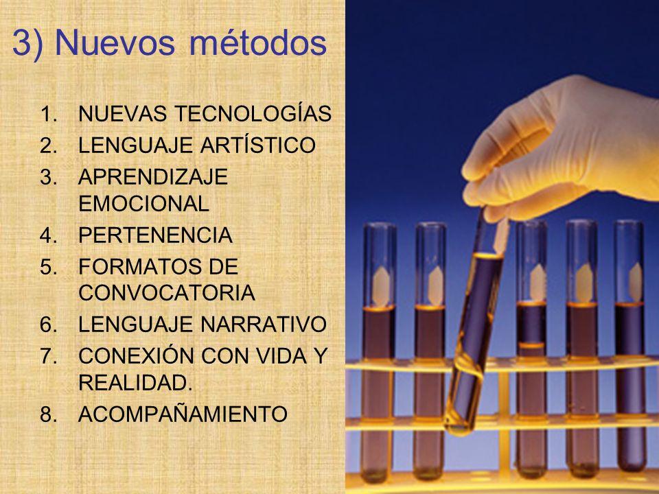 3) Nuevos métodos 1.NUEVAS TECNOLOGÍAS 2.LENGUAJE ARTÍSTICO 3.APRENDIZAJE EMOCIONAL 4.PERTENENCIA 5.FORMATOS DE CONVOCATORIA 6.LENGUAJE NARRATIVO 7.CO
