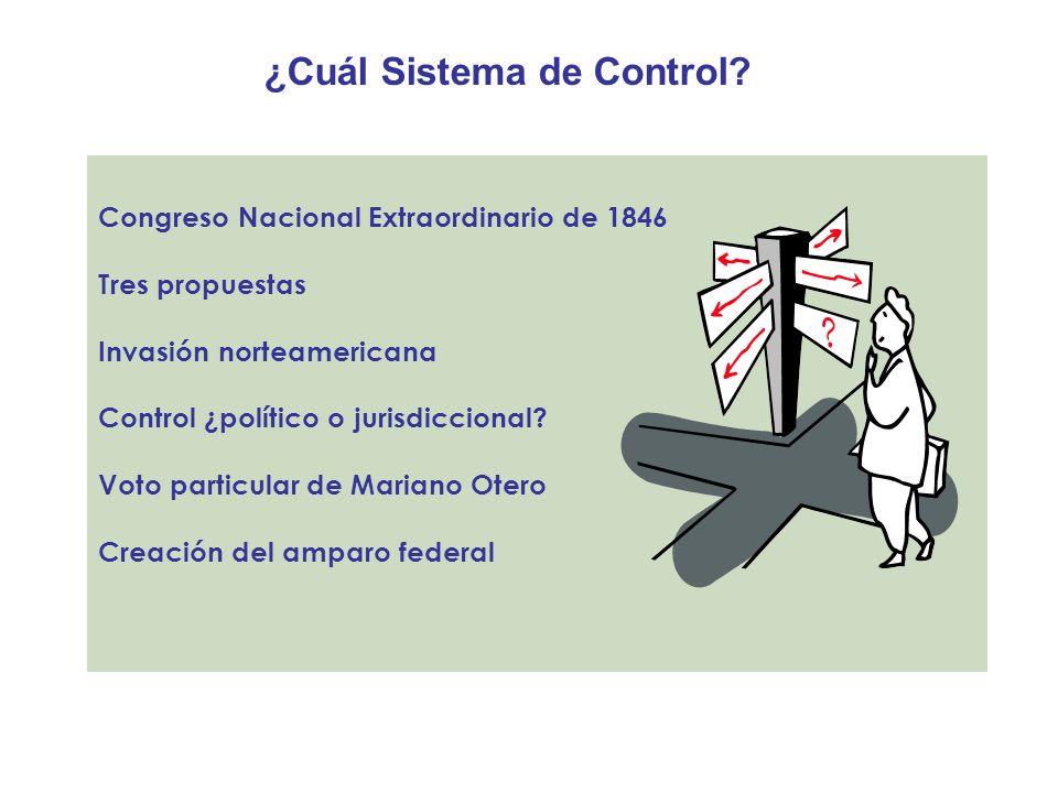 ¿Cuál Sistema de Control? Congreso Nacional Extraordinario de 1846 Tres propuestas Invasión norteamericana Control ¿político o jurisdiccional? Voto pa