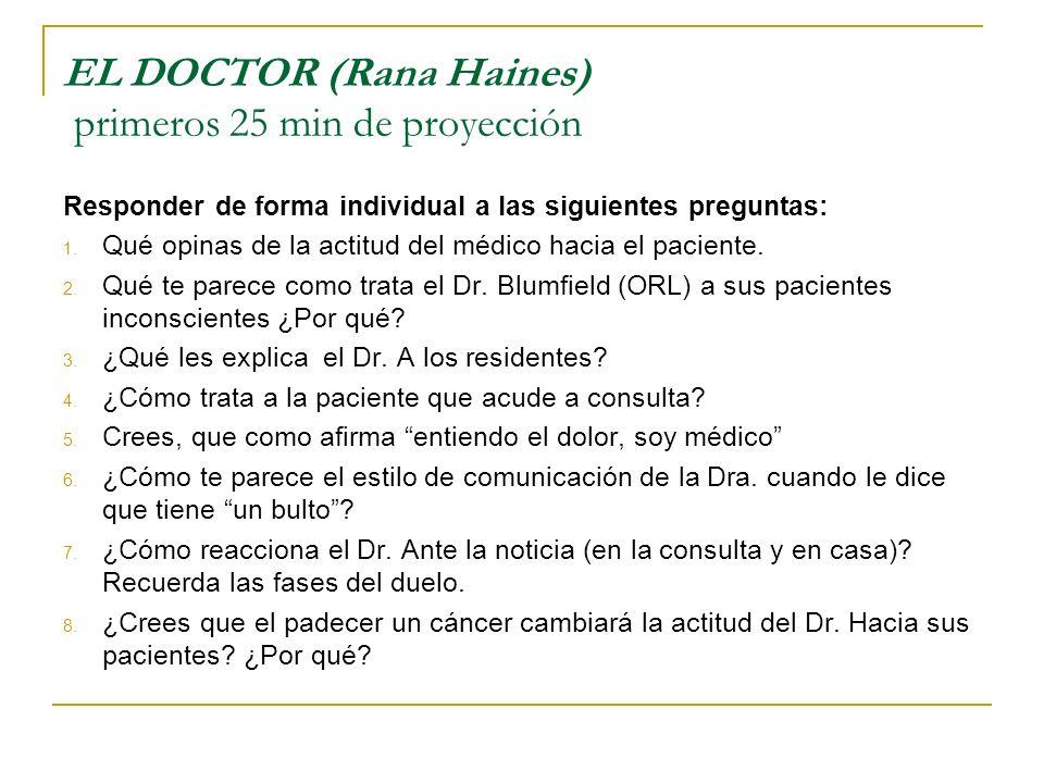 EL DOCTOR (Rana Haines) primeros 25 min de proyección Responder de forma individual a las siguientes preguntas: 1. Qué opinas de la actitud del médico