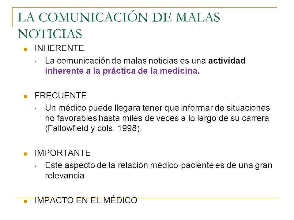 LA COMUNICACIÓN DE MALAS NOTICIAS INHERENTE La comunicación de malas noticias es una actividad inherente a la práctica de la medicina. FRECUENTE Un mé