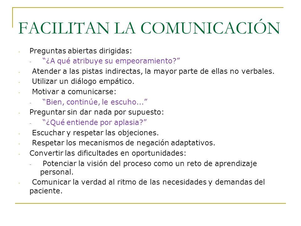 FACILITAN LA COMUNICACIÓN - Preguntas abiertas dirigidas: - ¿A qué atribuye su empeoramiento? - Atender a las pistas indirectas, la mayor parte de ell