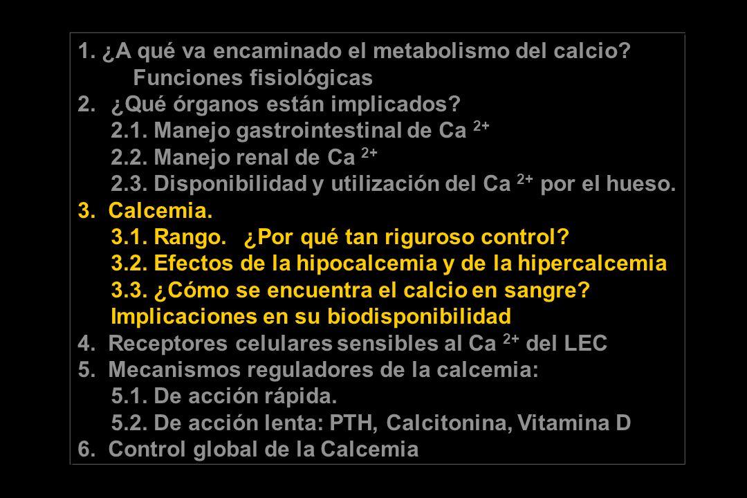 1. ¿A qué va encaminado el metabolismo del calcio? Funciones fisiológicas 2.¿Qué órganos están implicados? 2.1. Manejo gastrointestinal de Ca 2+ 2.2.