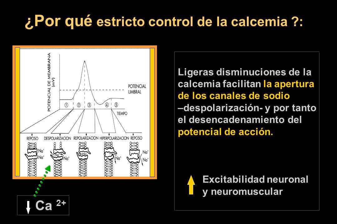 ¿Por qué estricto control de la calcemia ?: Ca 2+ Ligeras disminuciones de la calcemia facilitan la apertura de los canales de sodio –despolarización- y por tanto el desencadenamiento del potencial de acción.