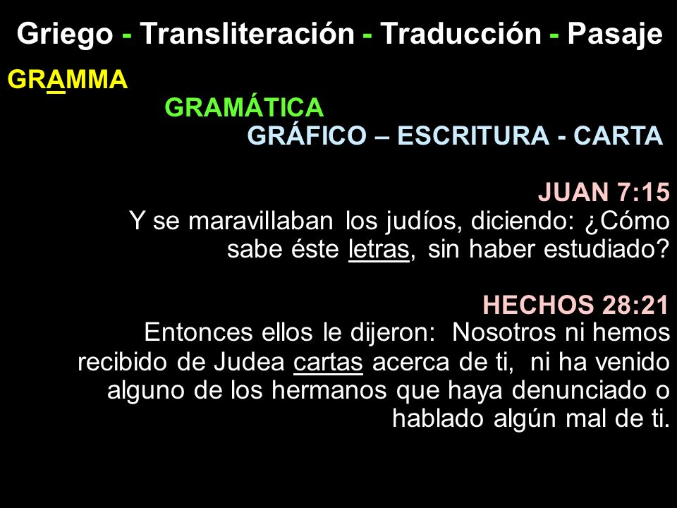 Griego - Transliteración - Traducción - Pasaje GRAMMA GRAMÁTICA GRÁFICO – ESCRITURA - CARTA JUAN 7:15 Y se maravillaban los judíos, diciendo: ¿Cómo sa