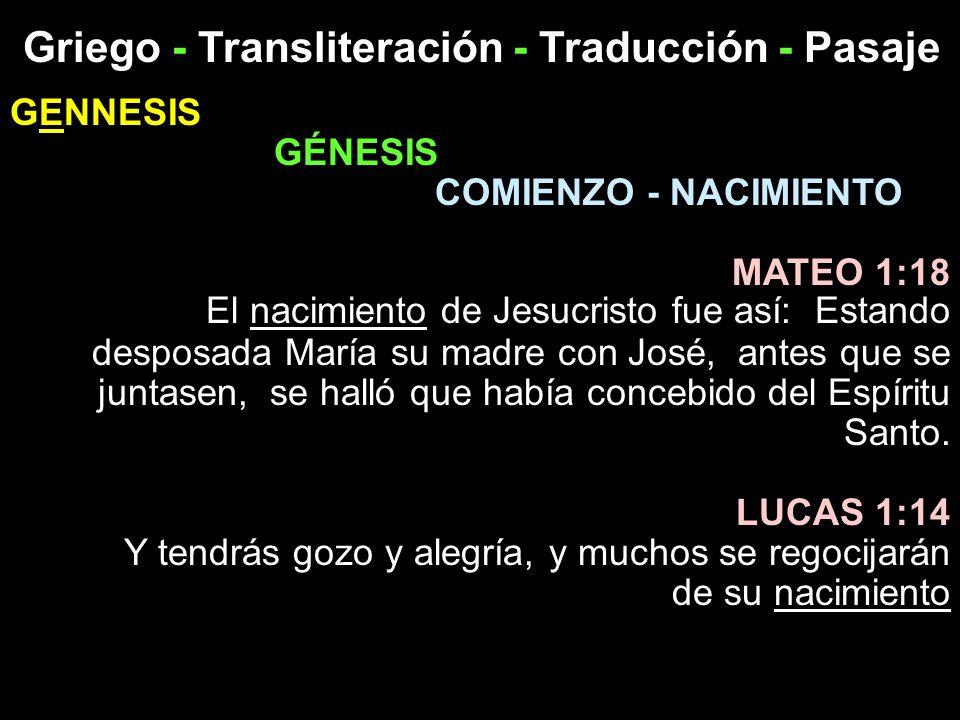 Griego - Transliteración - Traducción - Pasaje GENNESIS GÉNESIS COMIENZO - NACIMIENTO MATEO 1:18 El nacimiento de Jesucristo fue así: Estando desposad