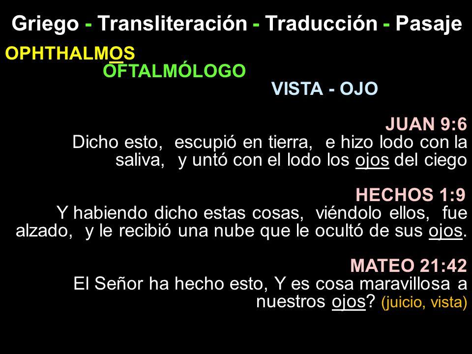 Griego - Transliteración - Traducción - Pasaje OPHTHALMOS OFTALMÓLOGO VISTA - OJO JUAN 9:6 Dicho esto, escupió en tierra, e hizo lodo con la saliva, y