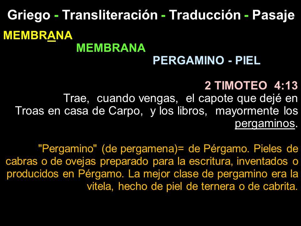 Griego - Transliteración - Traducción - Pasaje MEMBRANA PERGAMINO - PIEL 2 TIMOTEO 4:13 Trae, cuando vengas, el capote que dejé en Troas en casa de Ca