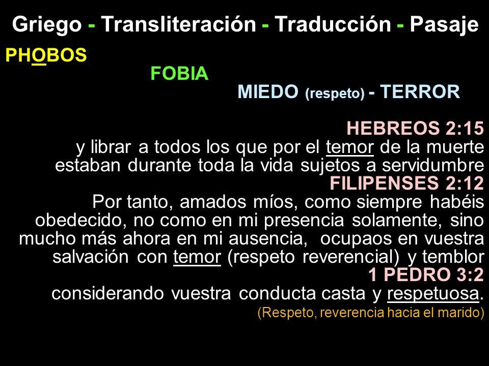 Griego - Transliteración - Traducción - Pasaje PHOBOS FOBIA MIEDO (respeto) - TERROR HEBREOS 2:15 y librar a todos los que por el temor de la muerte e