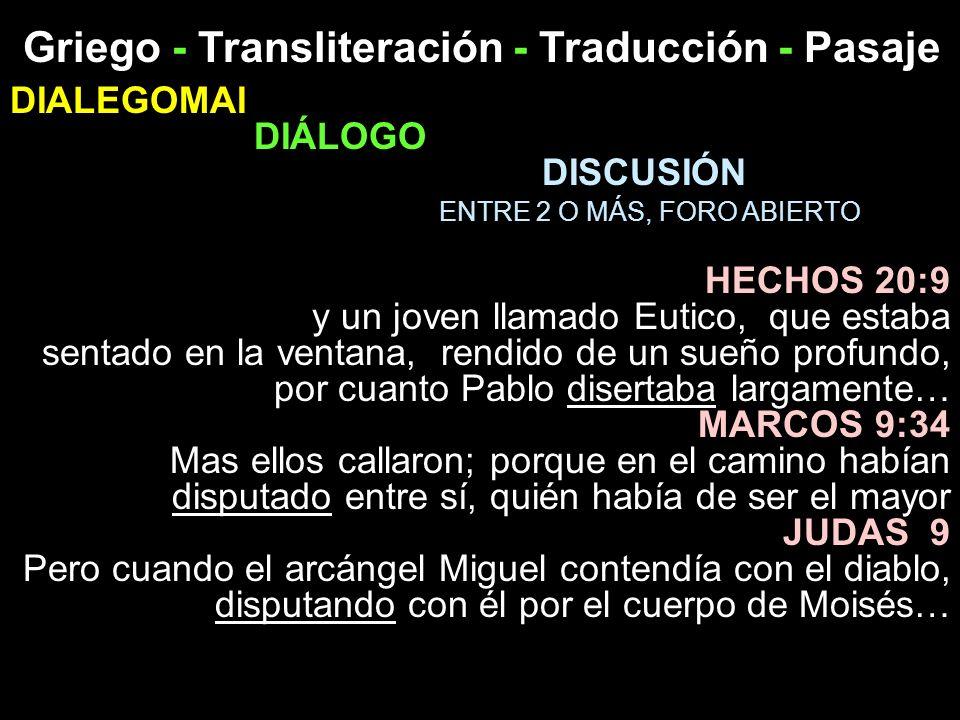 Griego - Transliteración - Traducción - Pasaje DIALEGOMAI DIÁLOGO DISCUSIÓN ENTRE 2 O MÁS, FORO ABIERTO HECHOS 20:9 y un joven llamado Eutico, que est