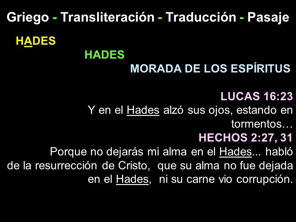 Griego - Transliteración - Traducción - Pasaje HADES MORADA DE LOS ESPÍRITUS LUCAS 16:23 Y en el Hades alzó sus ojos, estando en tormentos… HECHOS 2:2