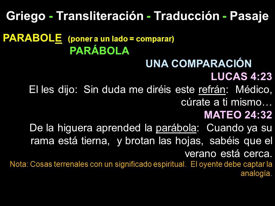 Griego - Transliteración - Traducción - Pasaje PARABOLE (poner a un lado = comparar) PARÁBOLA UNA COMPARACIÓN LUCAS 4:23 El les dijo: Sin duda me diré