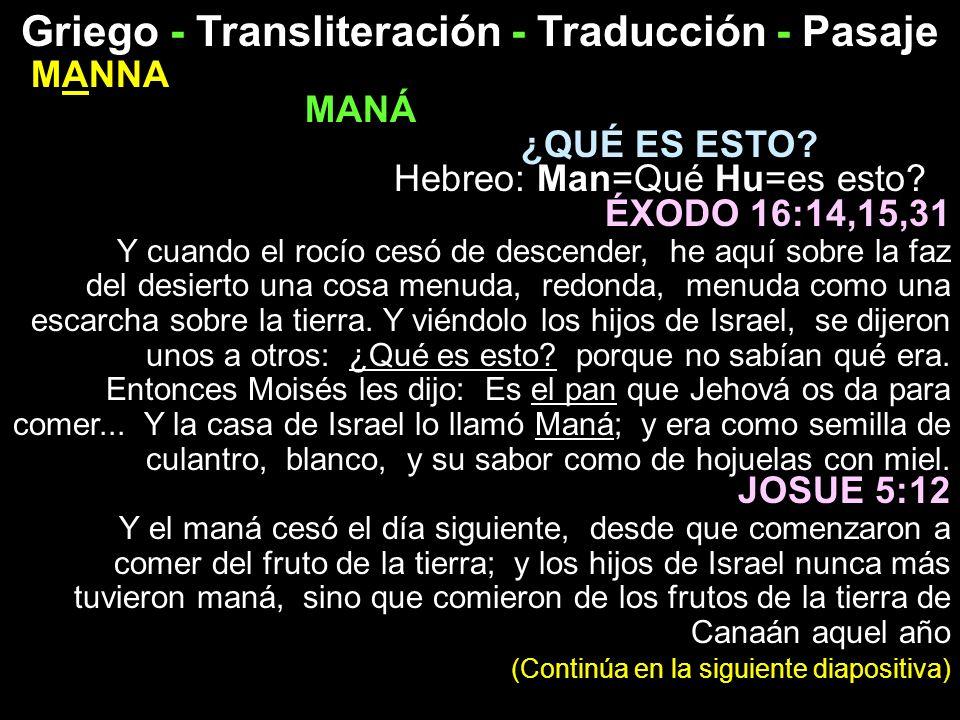 Griego - Transliteración - Traducción - Pasaje MANNA MANÁ ¿QUÉ ES ESTO? Hebreo: Man=Qué Hu=es esto? ÉXODO 16:14,15,31 Y cuando el rocío cesó de descen