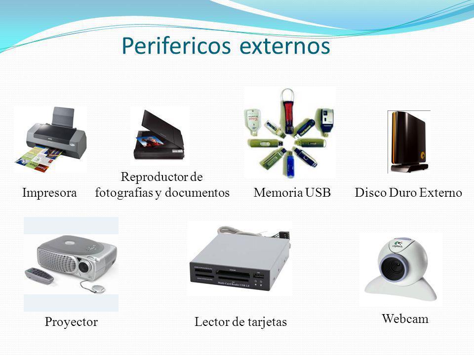 Perifericos externos ImpresoraMemoria USB ProyectorLector de tarjetas Reproductor de fotografias y documentos Disco Duro Externo Webcam