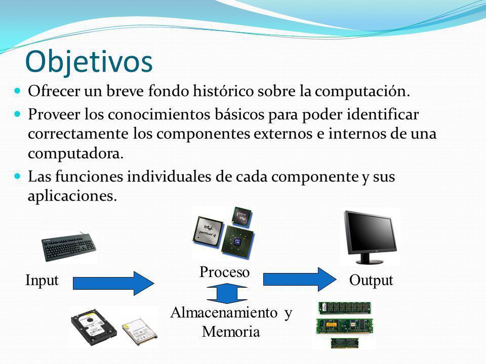 Objetivos Ofrecer un breve fondo histórico sobre la computación. Proveer los conocimientos básicos para poder identificar correctamente los componente