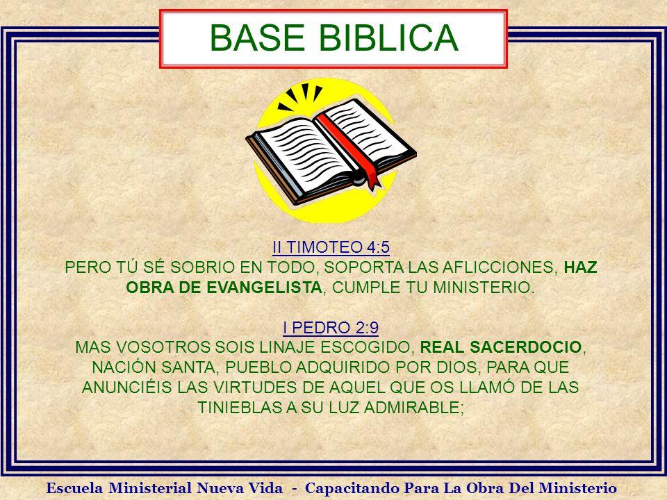 II TIMOTEO 4:5 PERO TÚ SÉ SOBRIO EN TODO, SOPORTA LAS AFLICCIONES, HAZ OBRA DE EVANGELISTA, CUMPLE TU MINISTERIO. I PEDRO 2:9 MAS VOSOTROS SOIS LINAJE