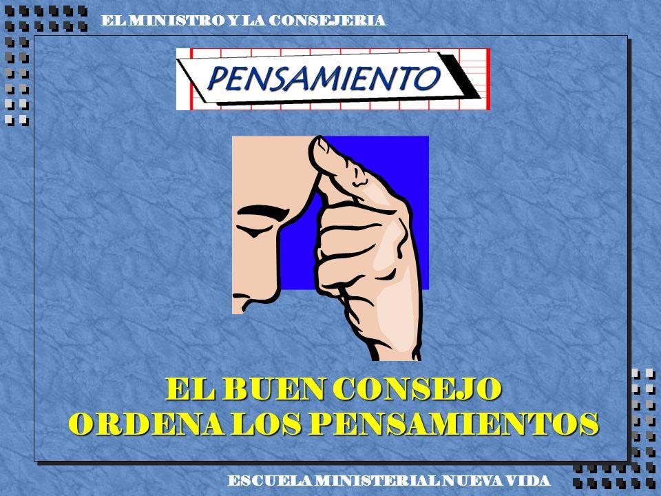 PENSAMIENTO EL BUEN CONSEJO ORDENA LOS PENSAMIENTOS EL MINISTRO Y LA CONSEJERIA ESCUELA MINISTERIAL NUEVA VIDA