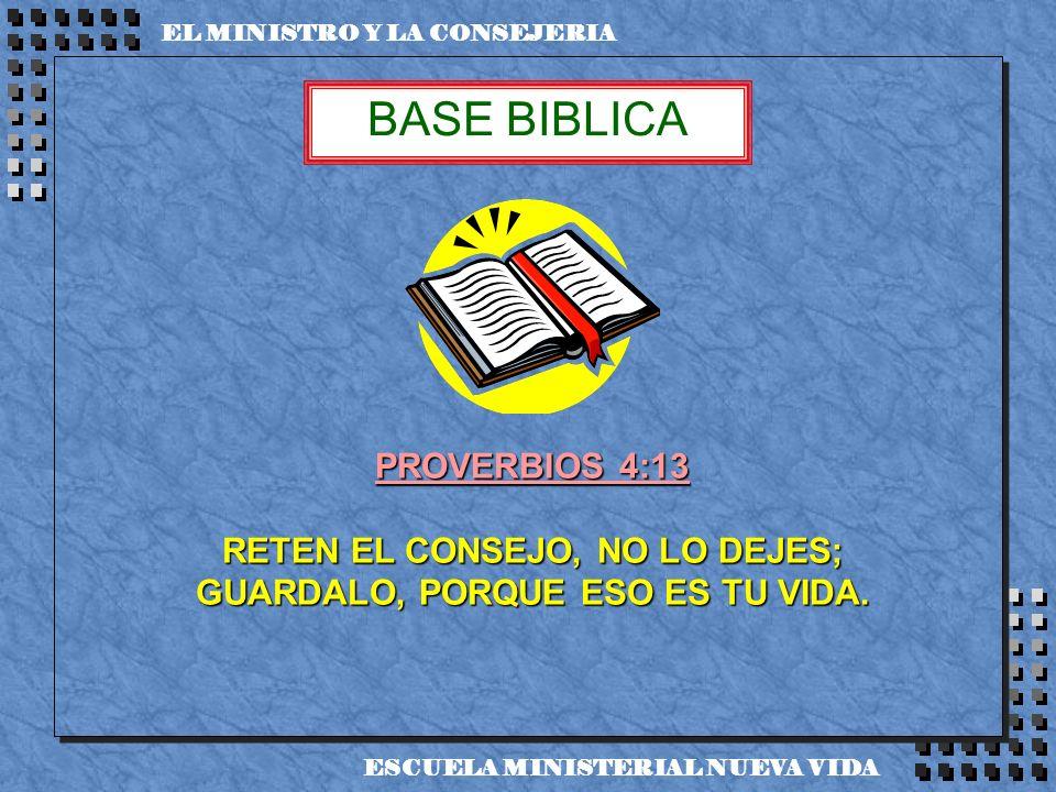 EL MINISTRO Y LA CONSEJERIA PROVERBIOS 4:13 RETEN EL CONSEJO, NO LO DEJES; GUARDALO, PORQUE ESO ES TU VIDA. BASE BIBLICA ESCUELA MINISTERIAL NUEVA VID