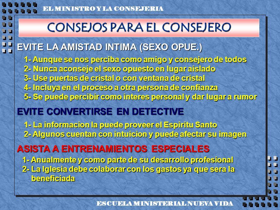 EVITE LA AMISTAD INTIMA (SEXO OPUE.) EVITE CONVERTIRSE EN DETECTIVE ASISTA A ENTRENAMIENTOS ESPECIALES EL MINISTRO Y LA CONSEJERIA ESCUELA MINISTERIAL