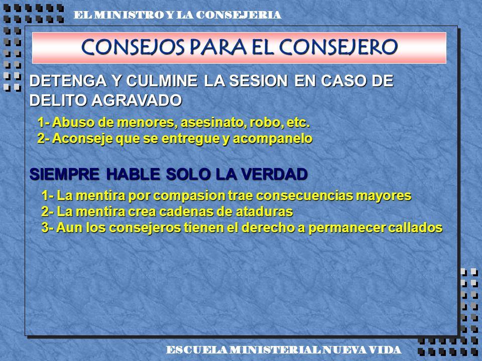 DETENGA Y CULMINE LA SESION EN CASO DE DELITO AGRAVADO SIEMPRE HABLE SOLO LA VERDAD EL MINISTRO Y LA CONSEJERIA ESCUELA MINISTERIAL NUEVA VIDA 1- Abus